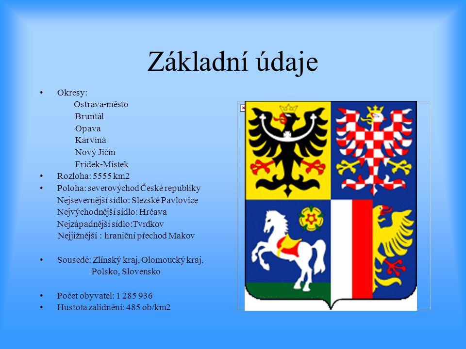 Základní údaje Okresy: Ostrava-město Bruntál Opava Karviná Nový Jičín