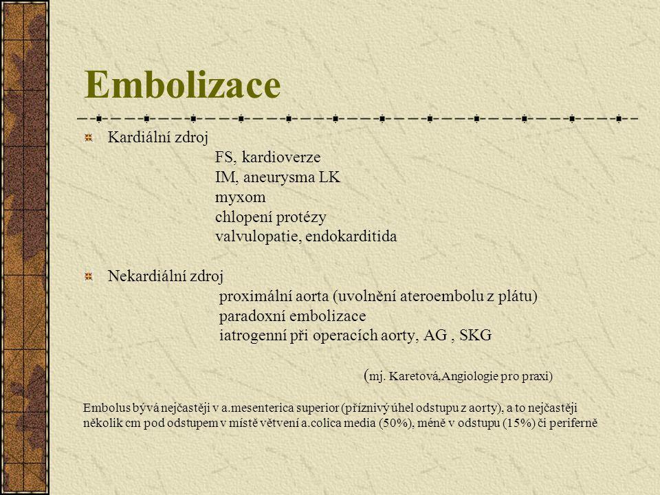 Embolizace Kardiální zdroj FS, kardioverze IM, aneurysma LK myxom