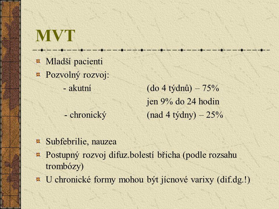 MVT Mladší pacienti Pozvolný rozvoj: - akutní (do 4 týdnů) – 75%