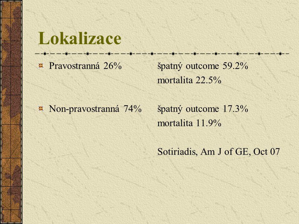 Lokalizace Pravostranná 26% špatný outcome 59.2% mortalita 22.5%