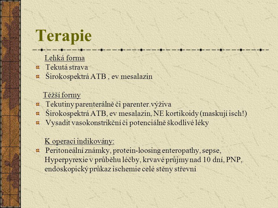 Terapie Lehká forma Tekutá strava Širokospektrá ATB , ev mesalazin