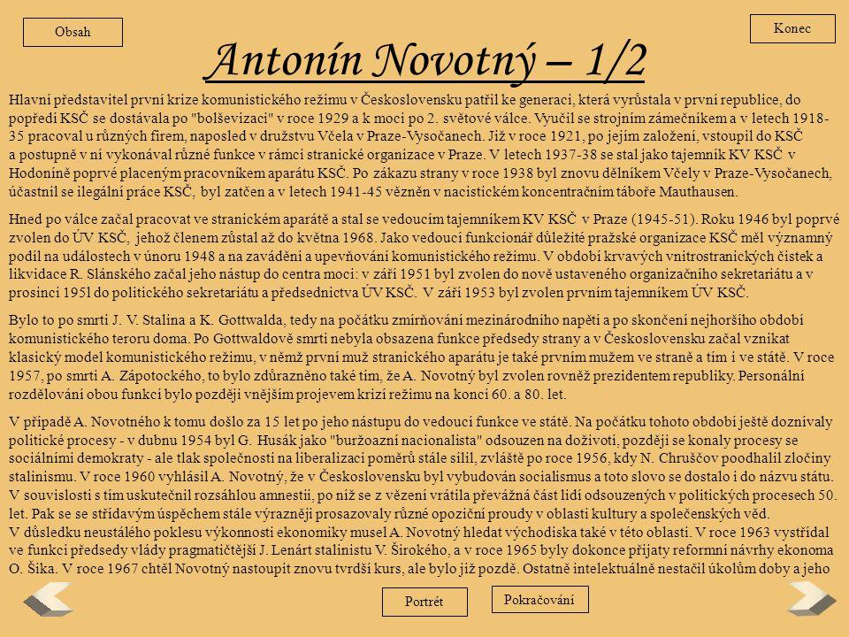Obsah Konec. Antonín Novotný – 1/2.