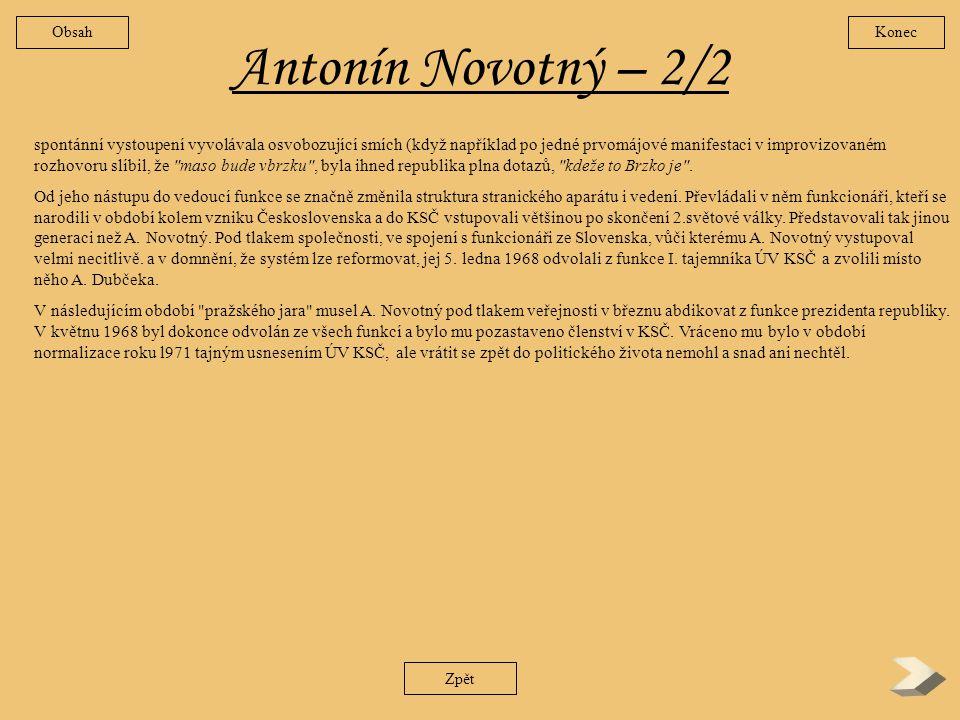 Obsah Konec. Antonín Novotný – 2/2.