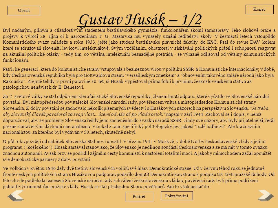 Obsah Konec. Gustav Husák – 1/2.