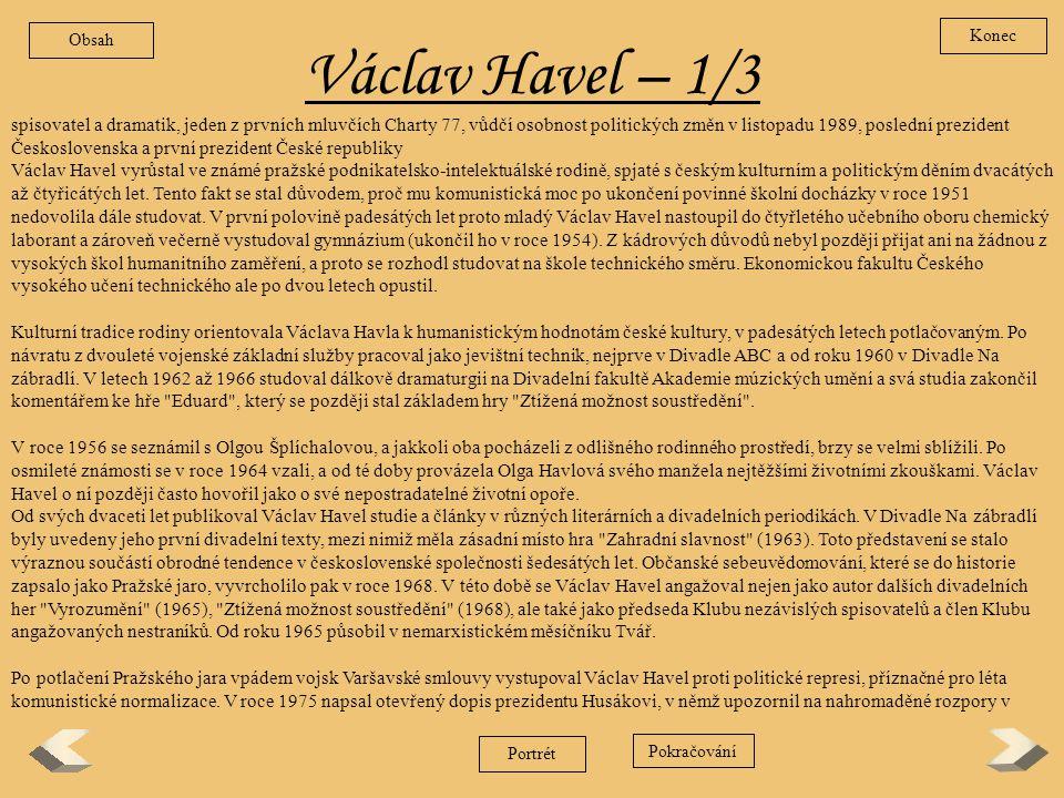 Obsah Konec. Václav Havel – 1/3.