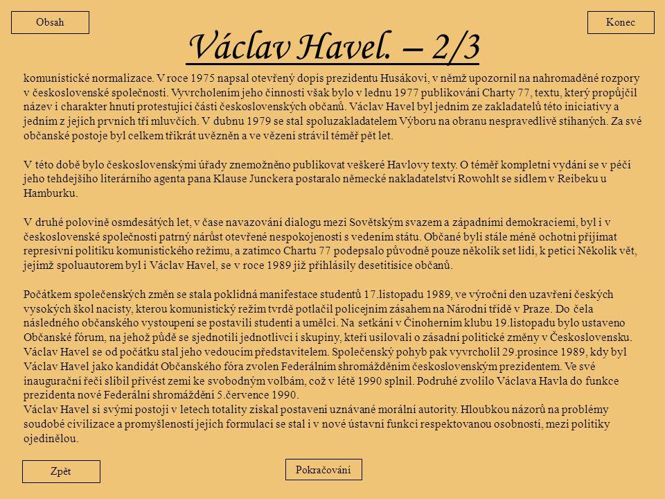 Obsah Konec. Václav Havel. – 2/3.