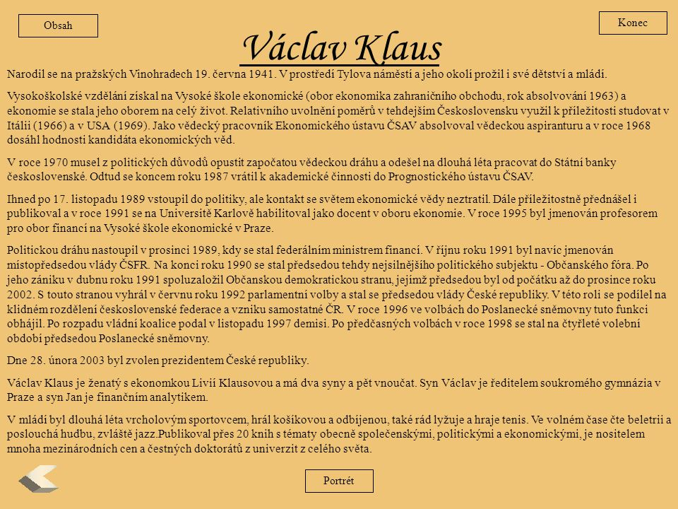 Obsah Konec. Václav Klaus.
