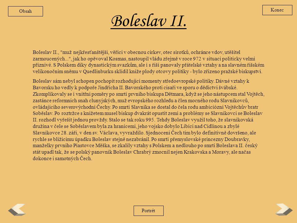 Obsah Konec. Boleslav II.