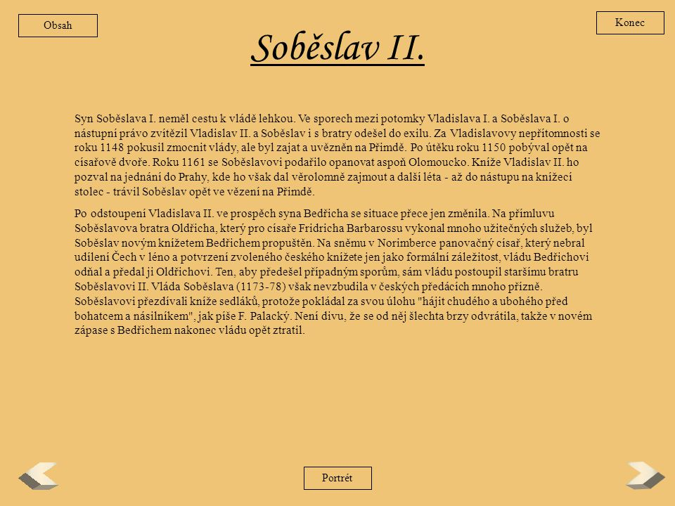 Obsah Konec. Soběslav II.
