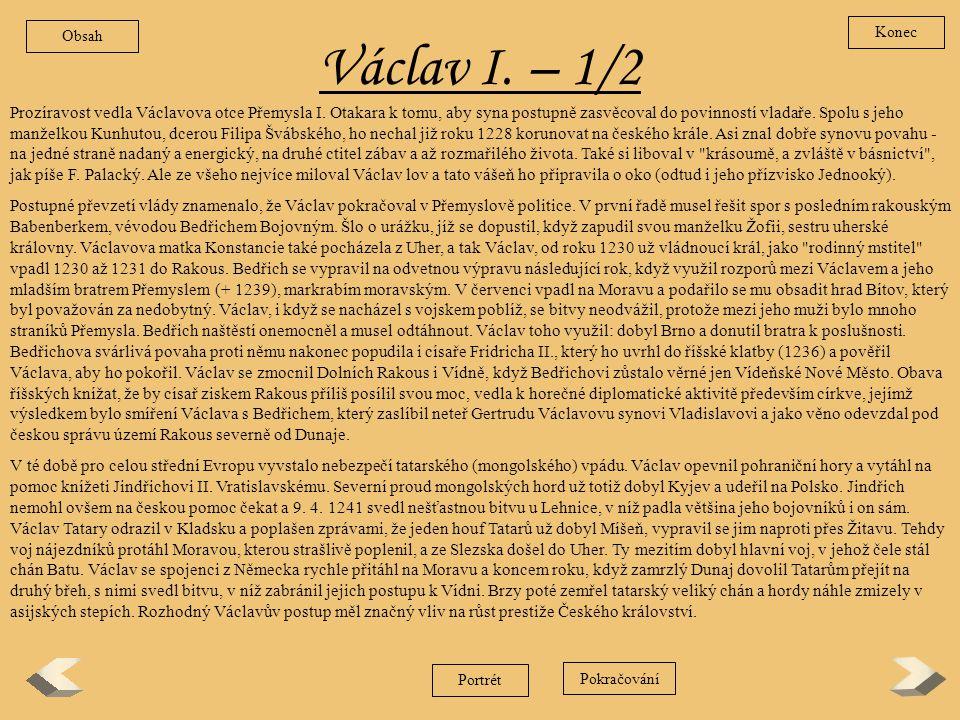 Obsah Konec. Václav I. – 1/2.