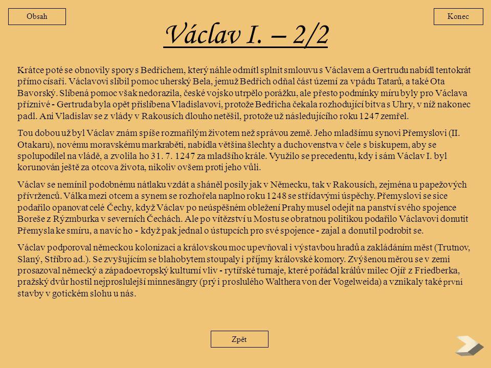 Obsah Konec. Václav I. – 2/2.