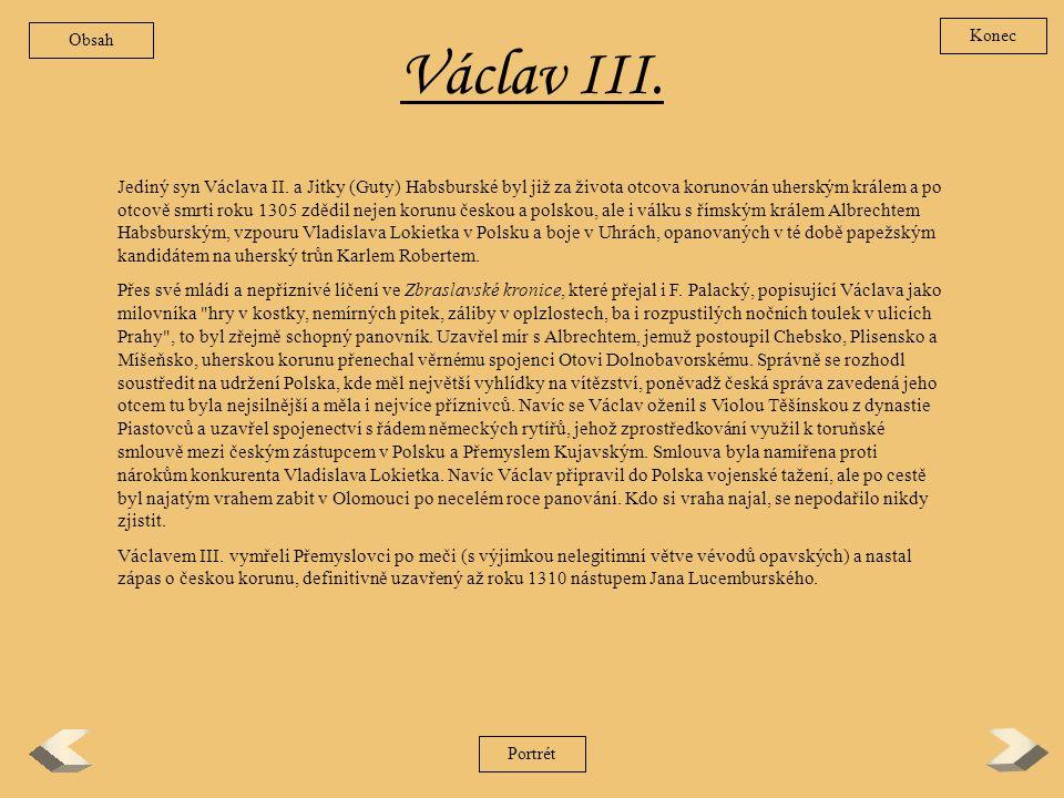 Obsah Konec. Václav III.