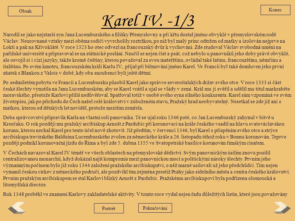 Obsah Konec. Karel IV. -1/3.