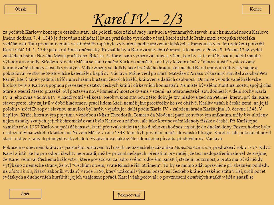 Obsah Konec. Karel IV.– 2/3.