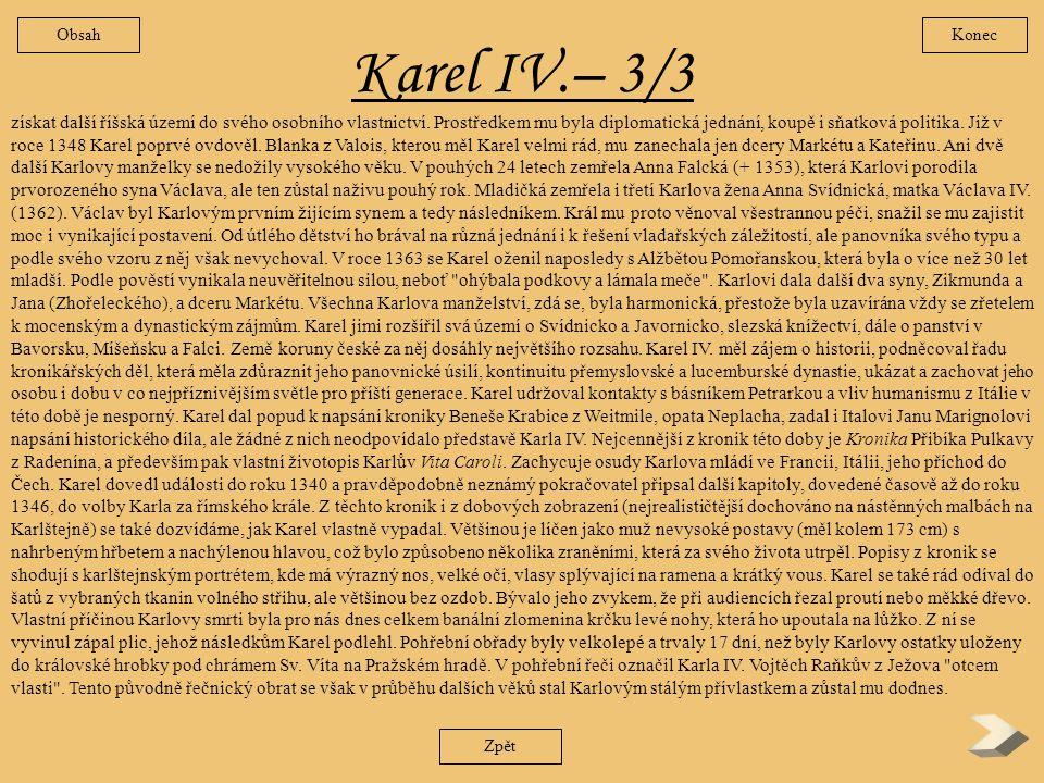 Obsah Konec. Karel IV.– 3/3.