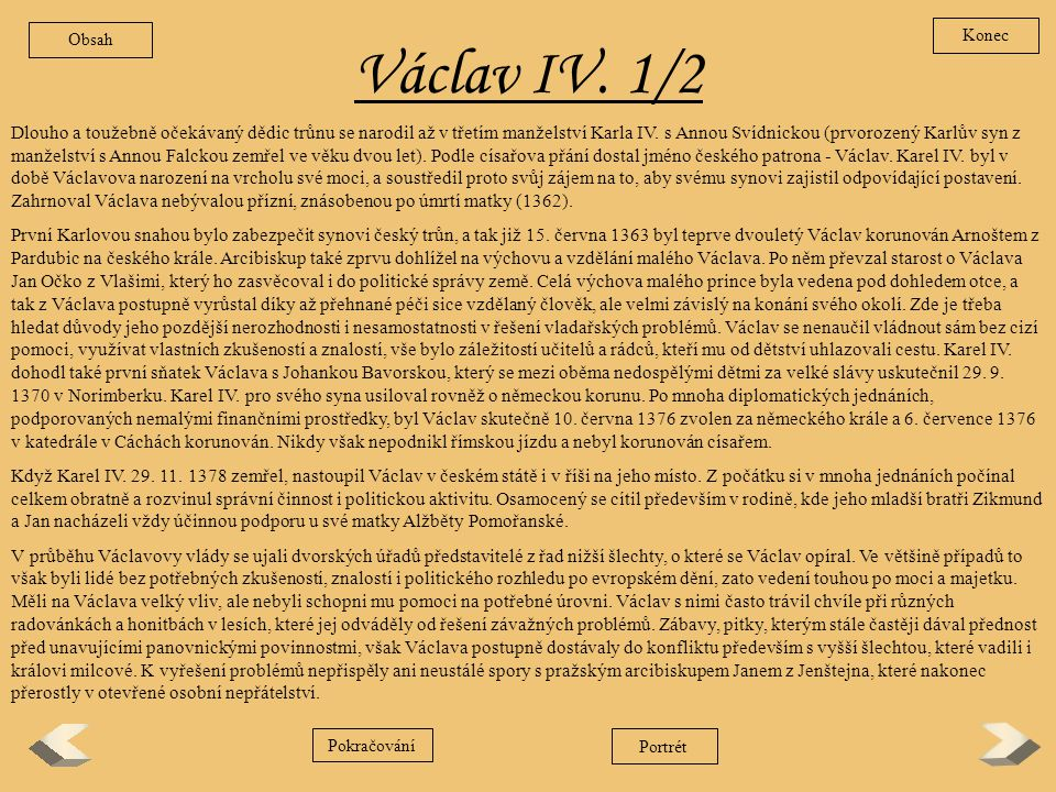 Obsah Konec. Václav IV. 1/2.