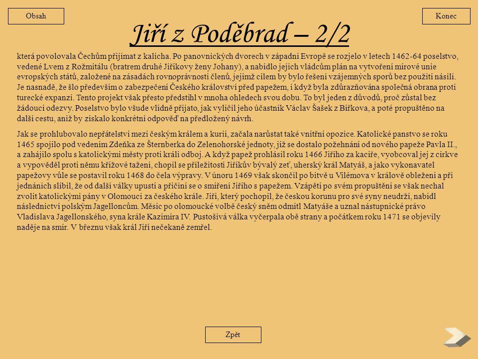 Obsah Konec. Jiří z Poděbrad – 2/2.