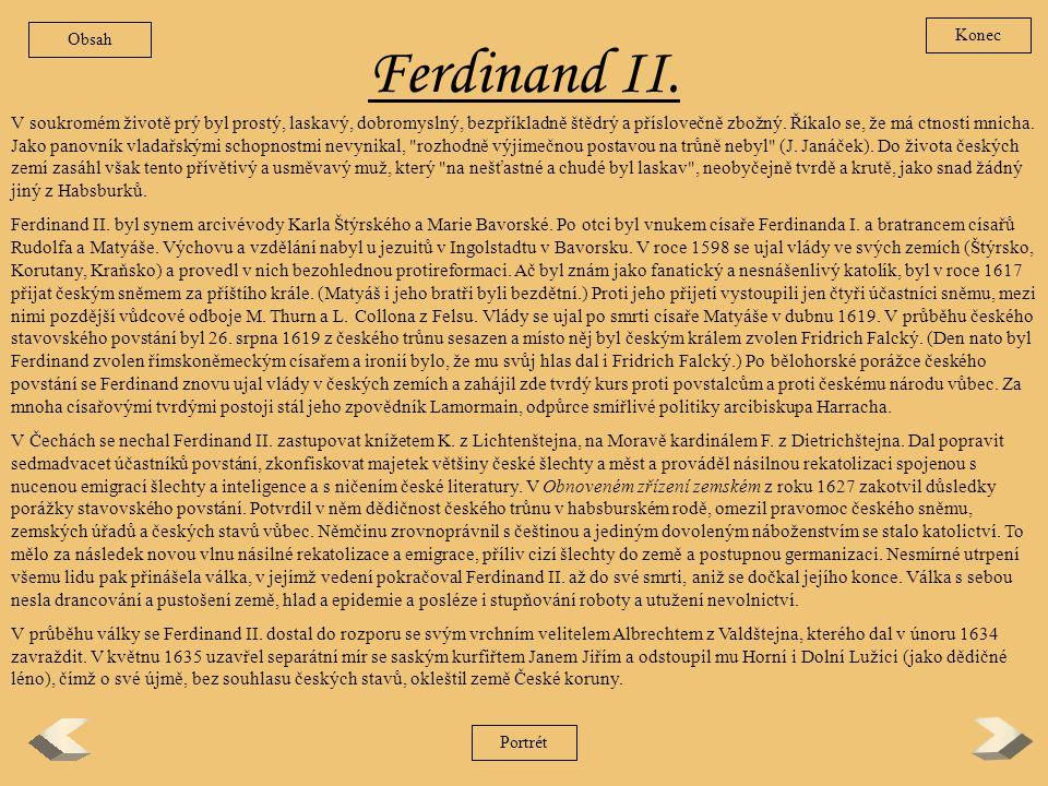 Obsah Konec. Ferdinand II.