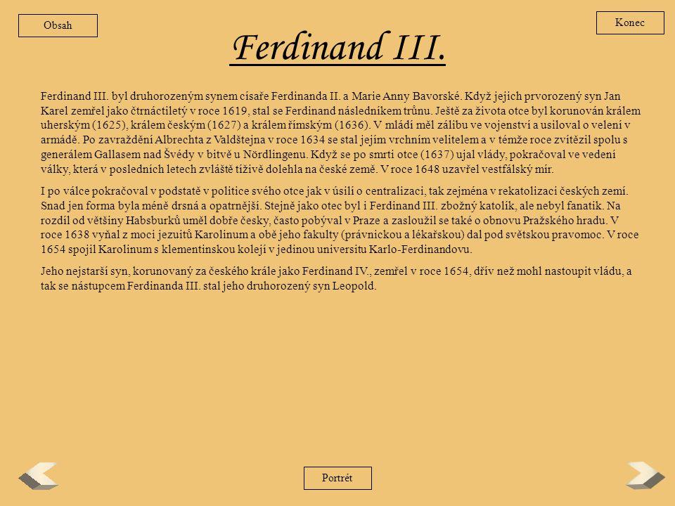 Obsah Konec. Ferdinand III.