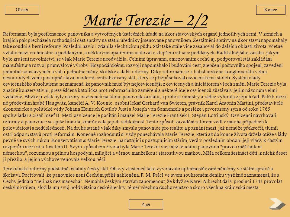 Obsah Konec. Marie Terezie – 2/2.