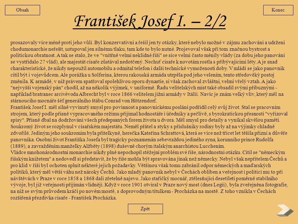 Obsah Konec. František Josef I. – 2/2.