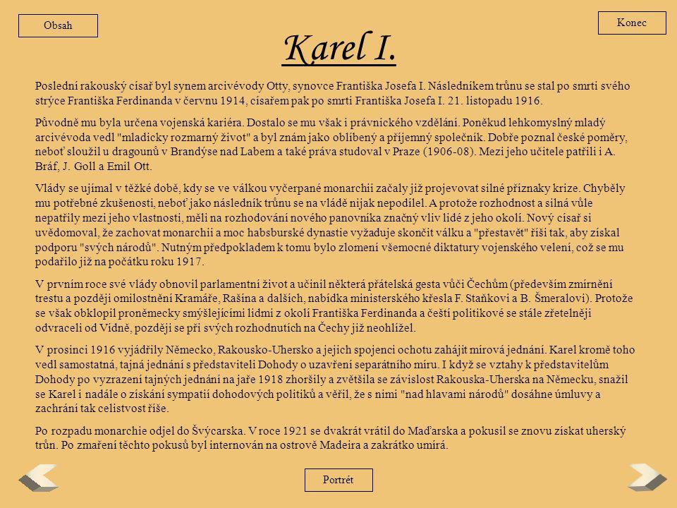 Obsah Konec. Karel I.