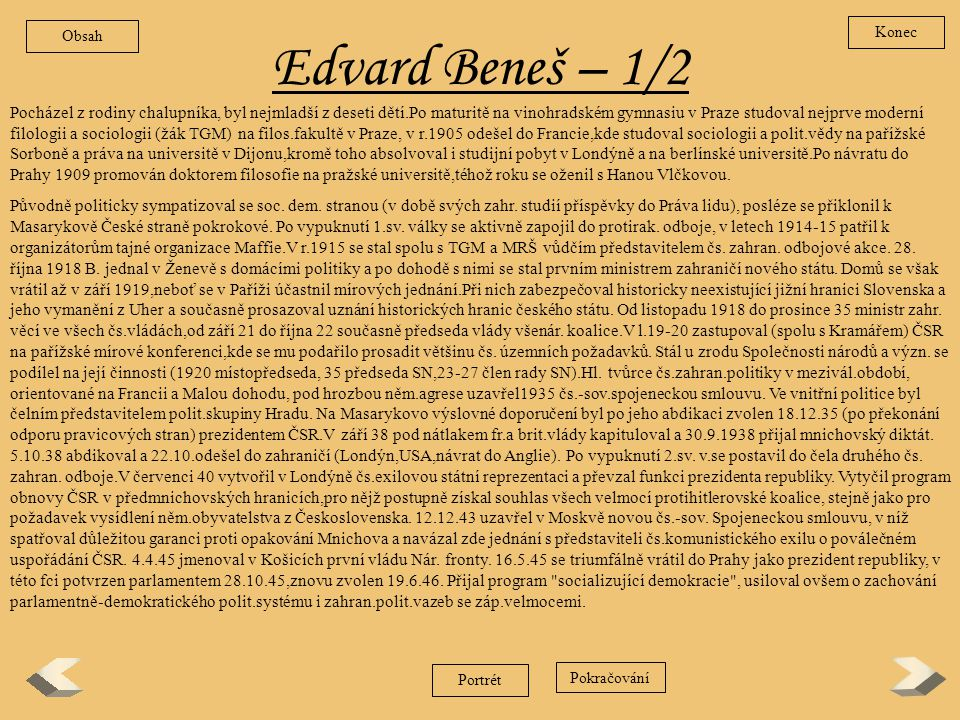 Obsah Konec. Edvard Beneš – 1/2.