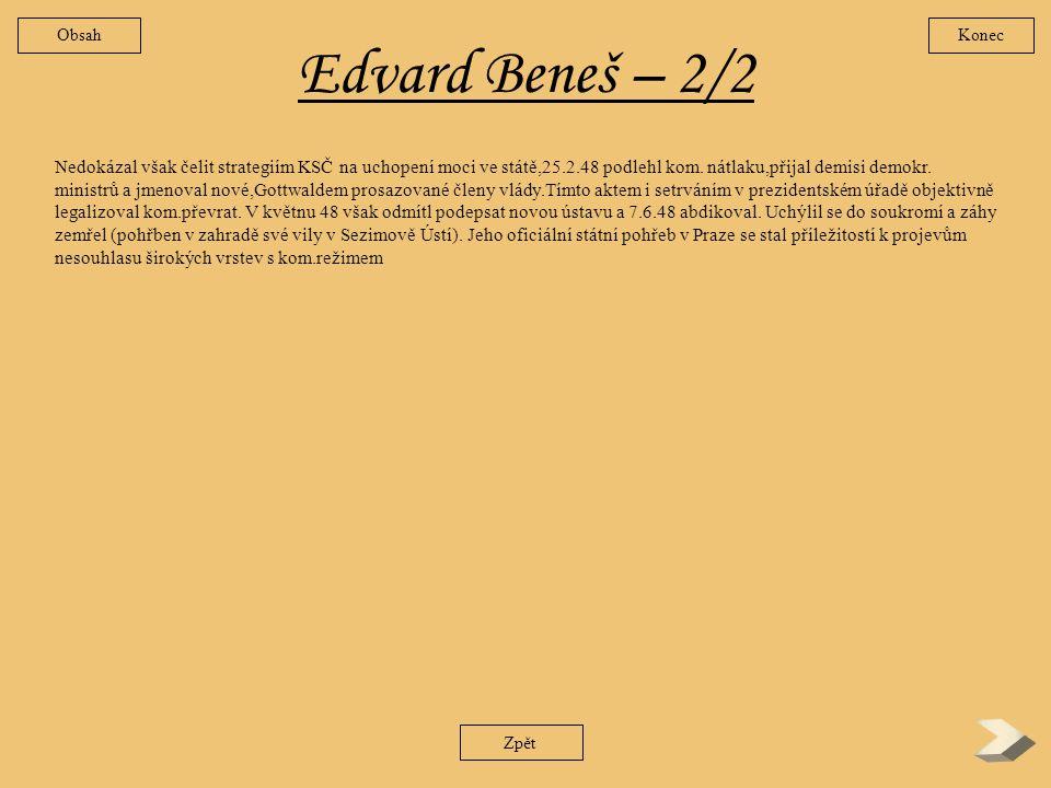 Obsah Konec. Edvard Beneš – 2/2.