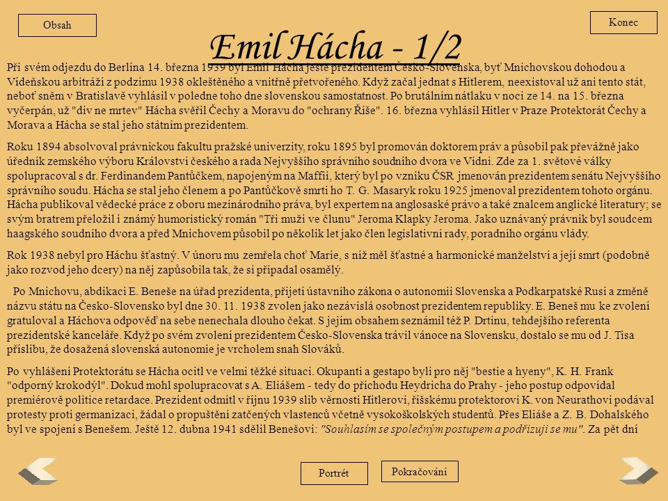 Obsah Konec. Emil Hácha - 1/2.