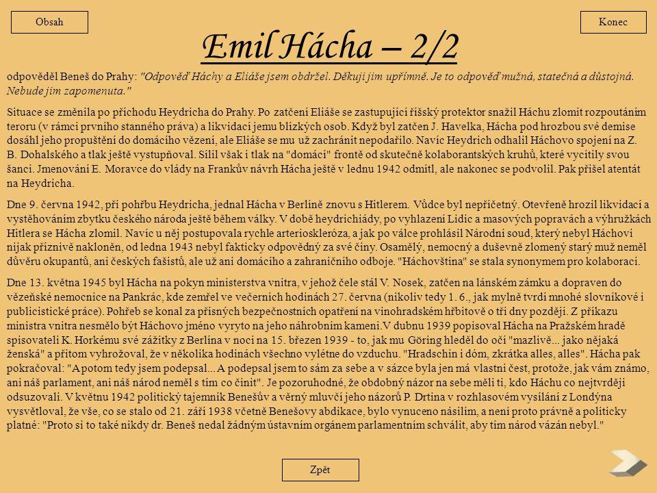 Obsah Konec. Emil Hácha – 2/2.