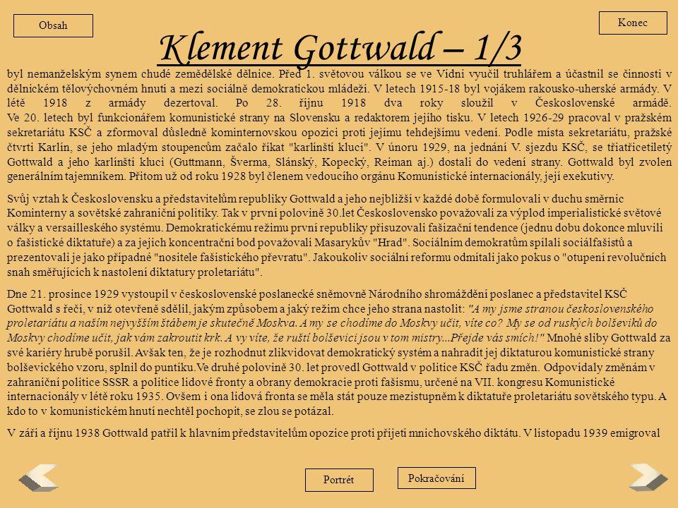 Obsah Konec. Klement Gottwald – 1/3.