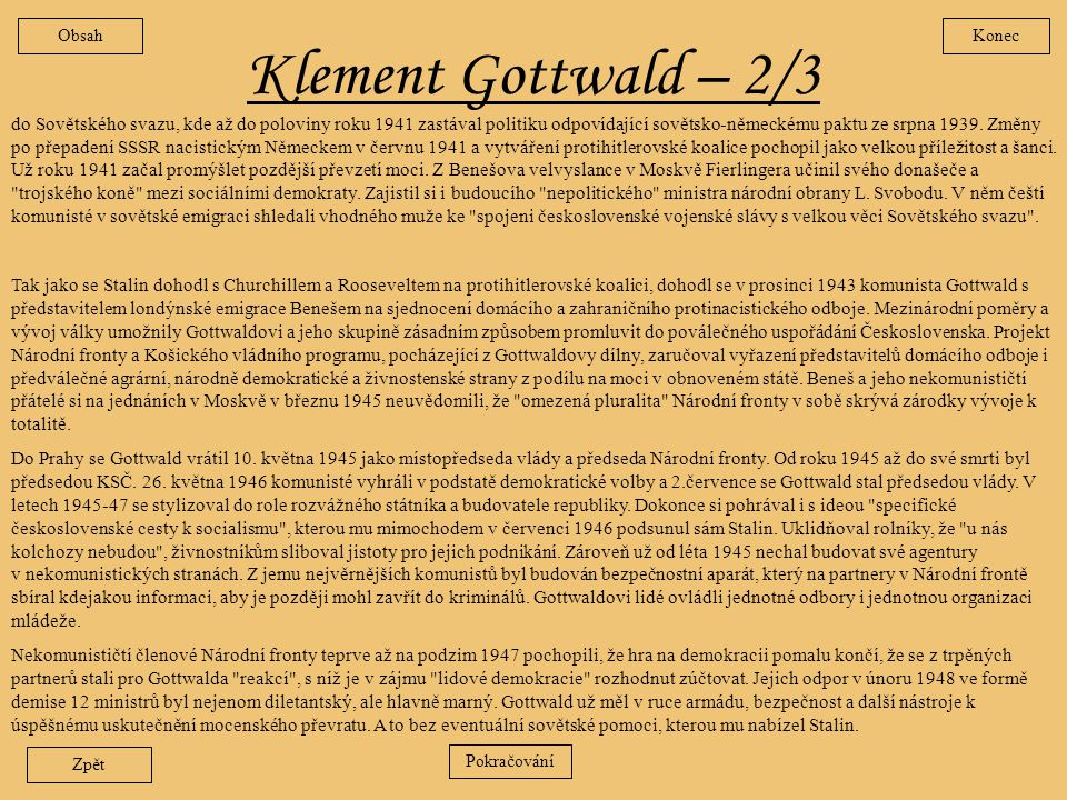 Obsah Konec. Klement Gottwald – 2/3.