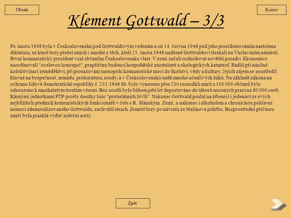 Obsah Konec. Klement Gottwald – 3/3.