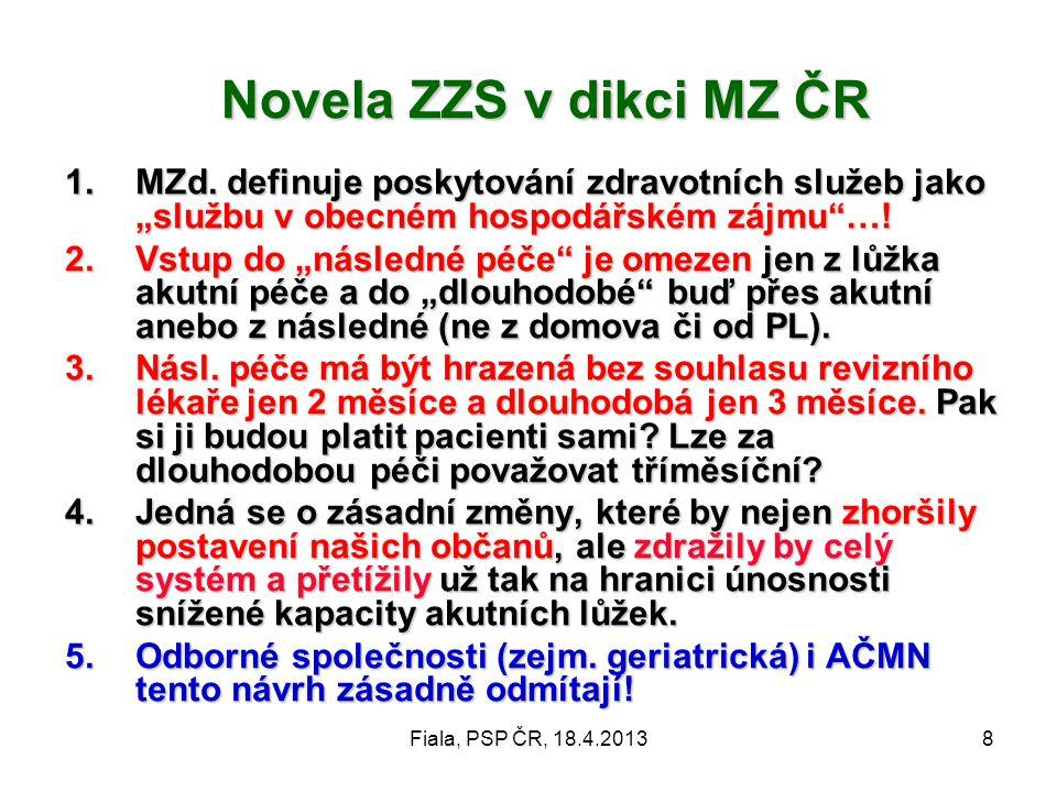 """Novela ZZS v dikci MZ ČR MZd. definuje poskytování zdravotních služeb jako """"službu v obecném hospodářském zájmu …!"""