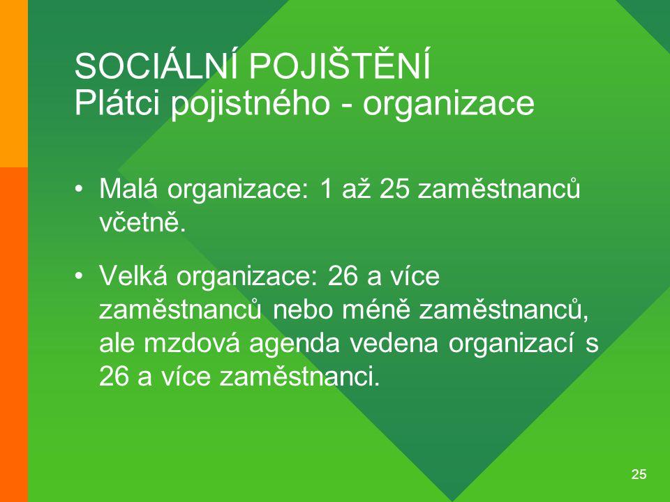 SOCIÁLNÍ POJIŠTĚNÍ Plátci pojistného - organizace