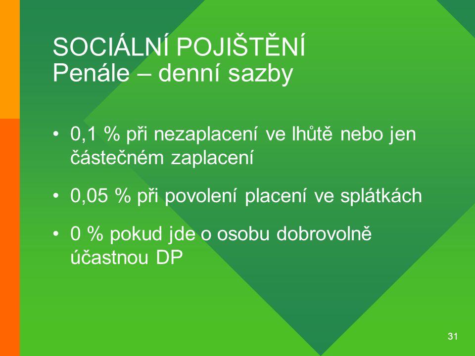 SOCIÁLNÍ POJIŠTĚNÍ Penále – denní sazby