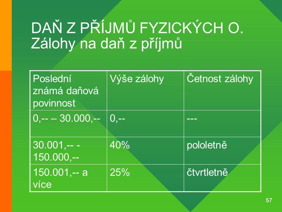 DAŇ Z PŘÍJMŮ FYZICKÝCH O. Zálohy na daň z příjmů