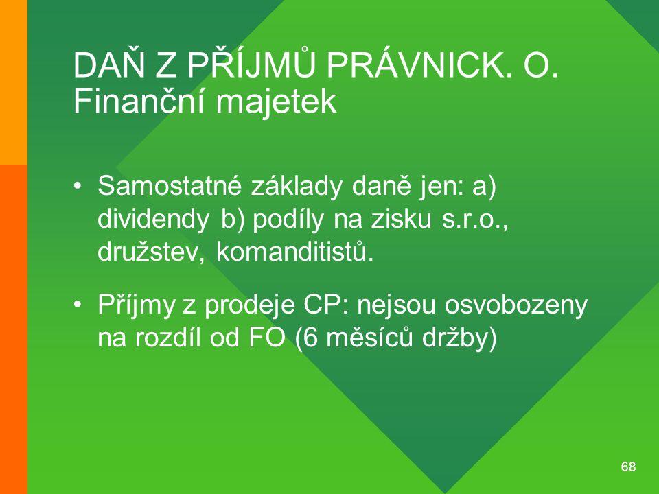 DAŇ Z PŘÍJMŮ PRÁVNICK. O. Finanční majetek