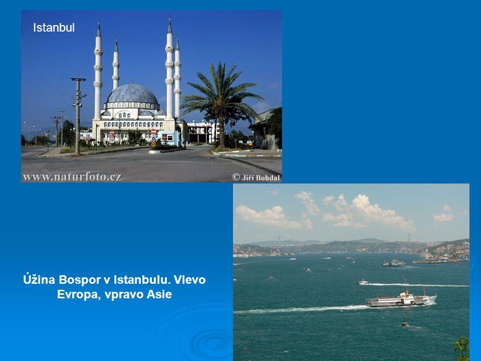 Úžina Bospor v Istanbulu. Vlevo Evropa, vpravo Asie