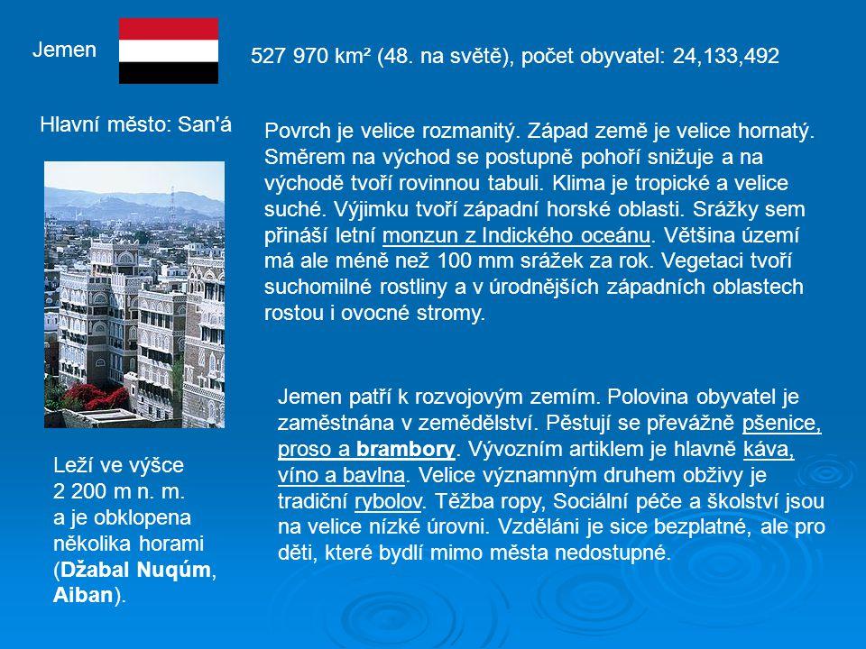 Jemen 527 970 km² (48. na světě), počet obyvatel: 24,133,492. Hlavní město: San á.