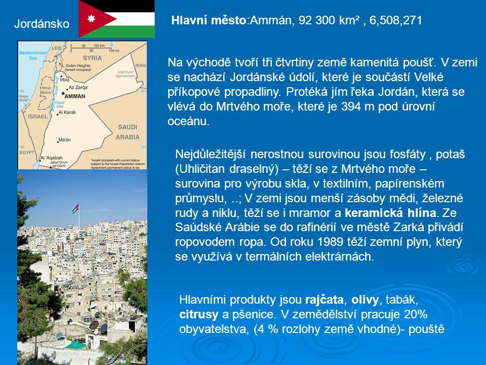 Hlavní město:Ammán, 92 300 km² , 6,508,271