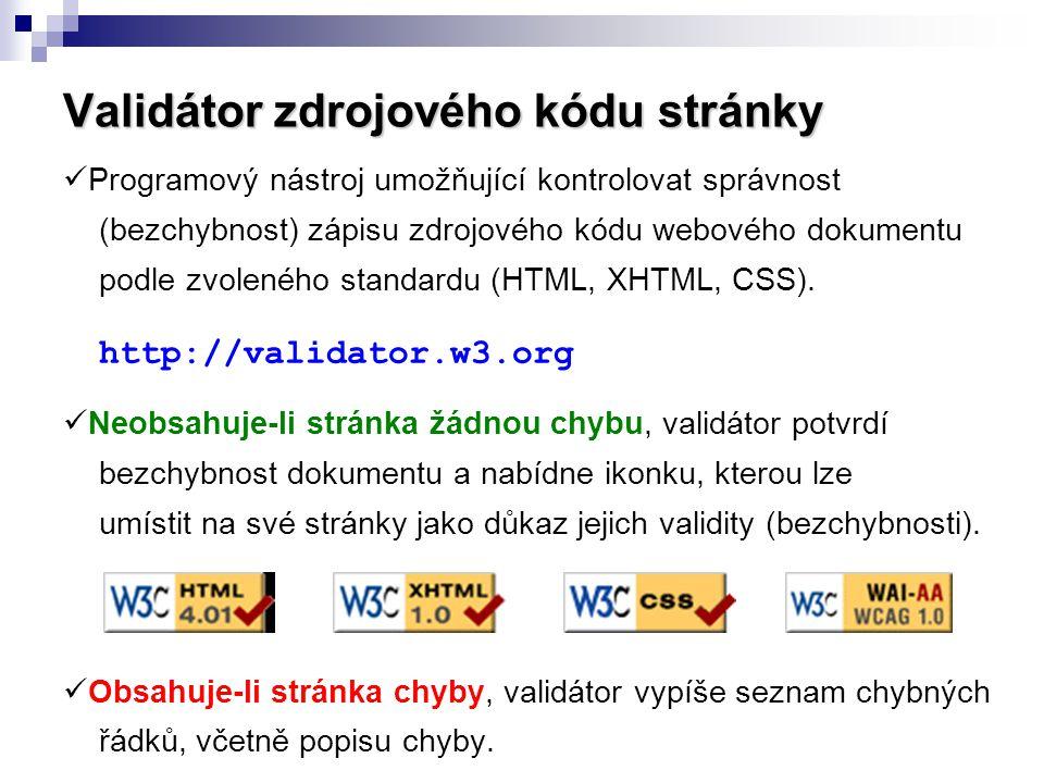 Validátor zdrojového kódu stránky