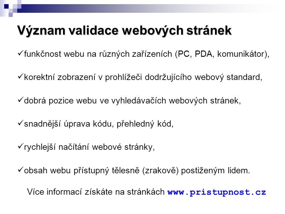 Význam validace webových stránek