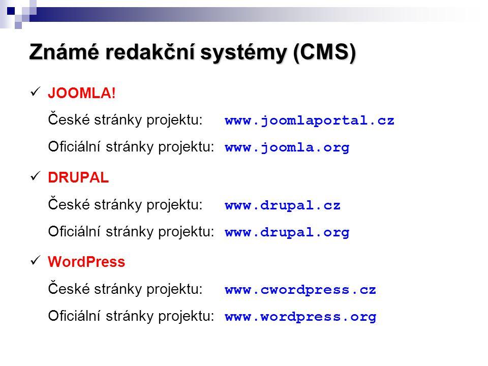 Známé redakční systémy (CMS)