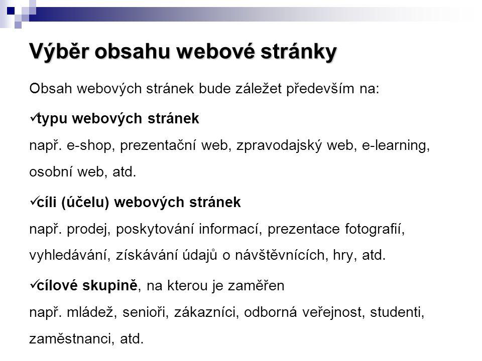 Výběr obsahu webové stránky