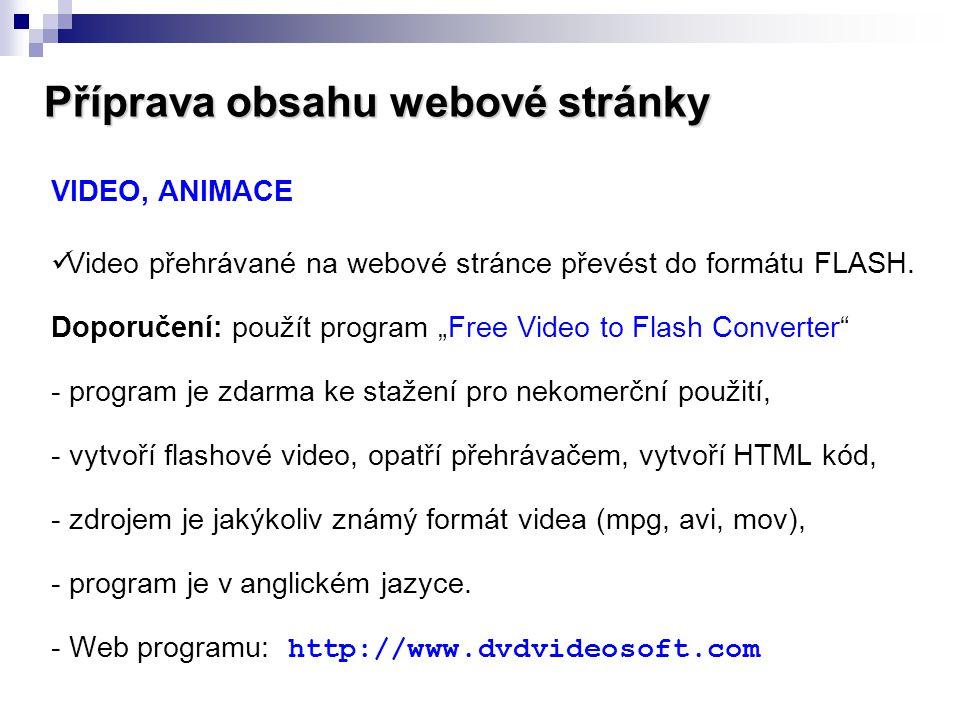 Příprava obsahu webové stránky