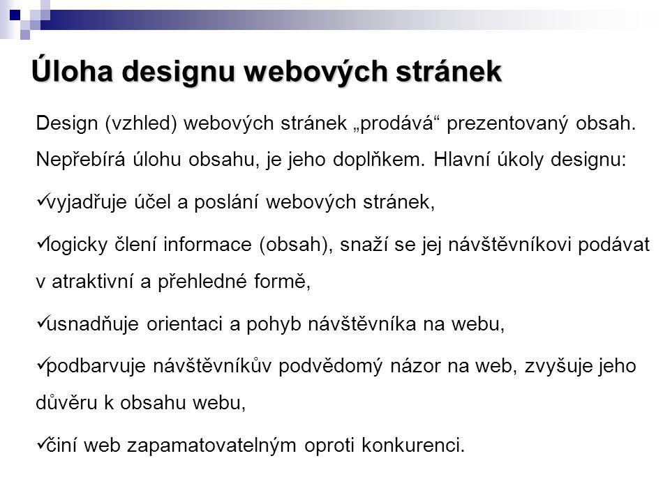 Úloha designu webových stránek
