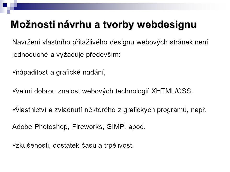 Možnosti návrhu a tvorby webdesignu