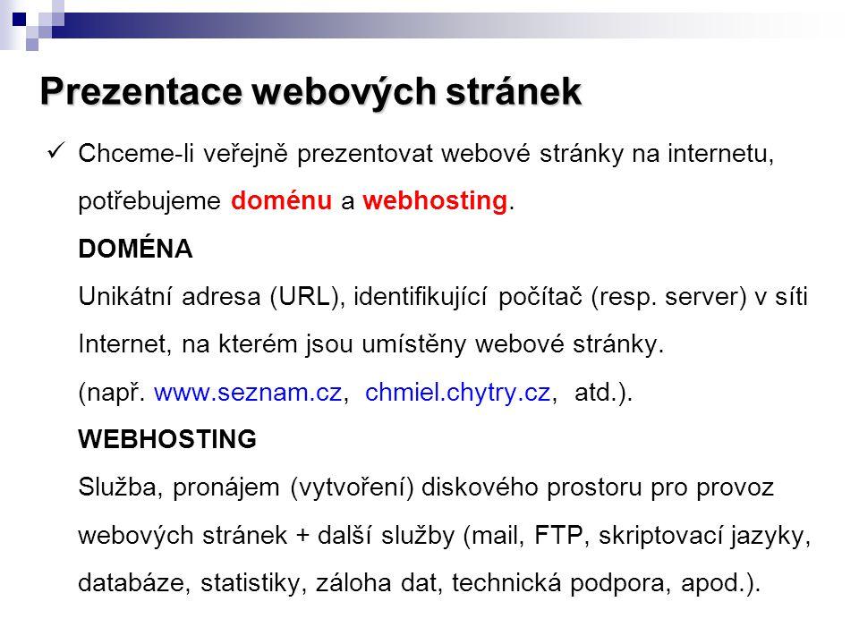 Prezentace webových stránek