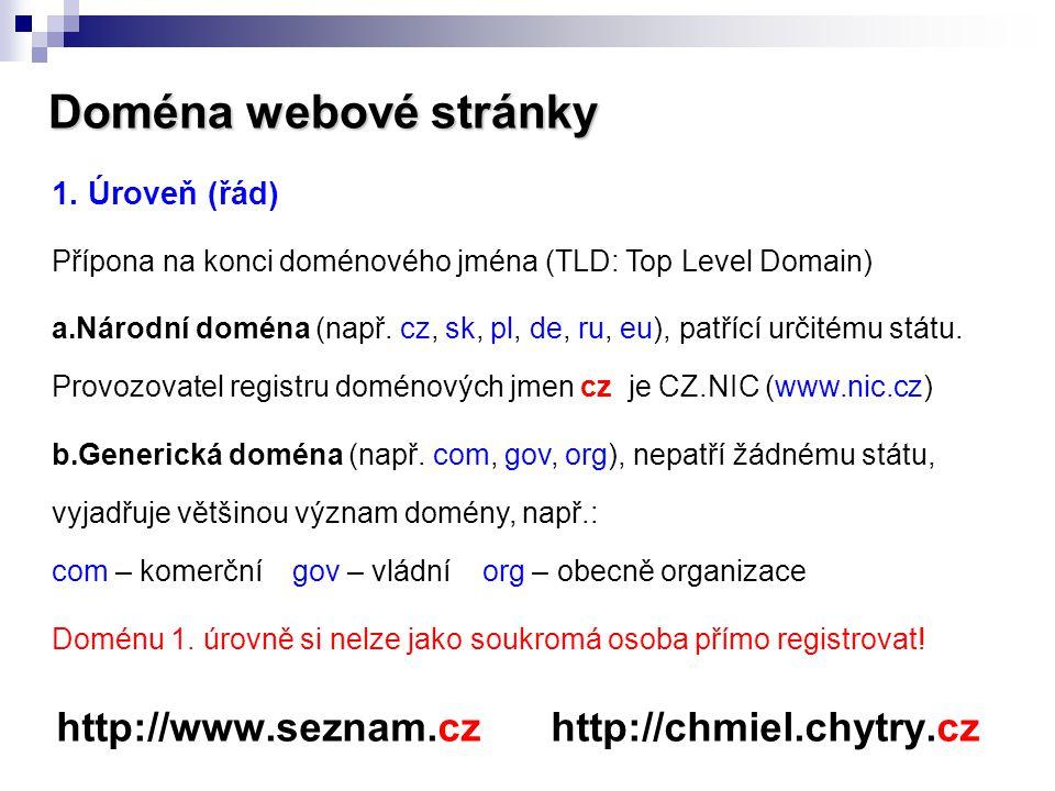 Doména webové stránky http://www.seznam.cz http://chmiel.chytry.cz